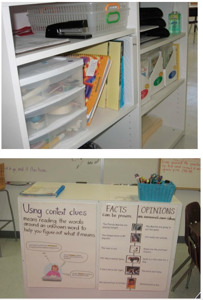 Teacher podium organizing teaching supplies